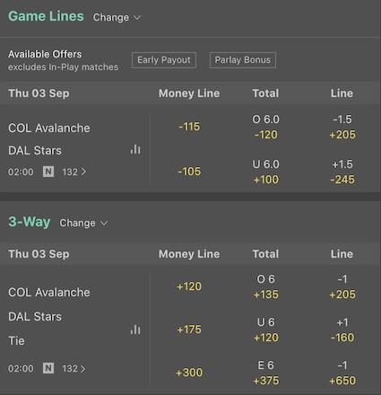 Bet365 Eishockey Moneyline Zweiweg vs Dreiweg