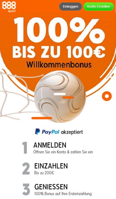 888 Sport Bonus mit PayPal
