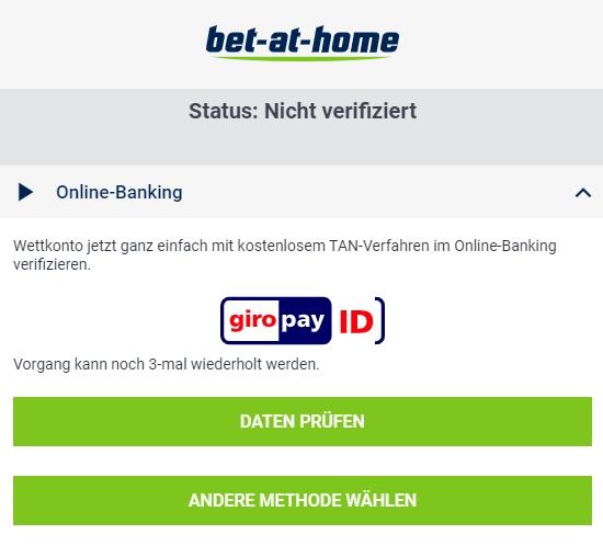 bet-at-home Verifizierung