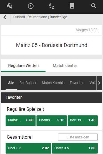 Bundesliga bei Unibet