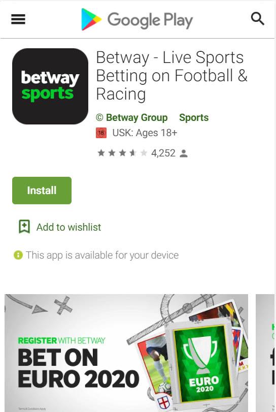 Betway App im Google Play Store