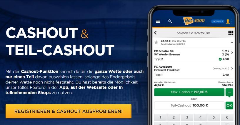 Bet3000 Cashout und Teil-Cashout