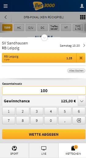 Bet3000 Wettschein