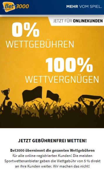 Bet3000 Wettsteuer